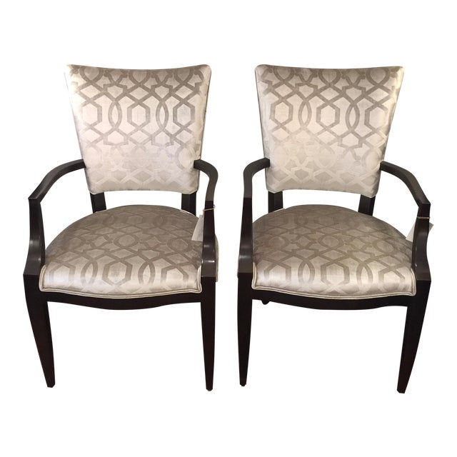 Century Furniture Silver Velvet Transitional Chairs - A Pair - Image 1 of 5