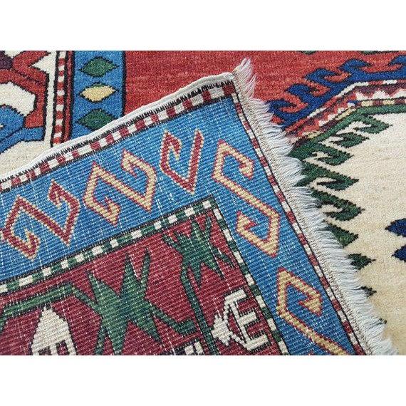 1970s Vintage Caucasian Pattern Turkish Rug - 5′1″ × 6′4″ For Sale - Image 4 of 6
