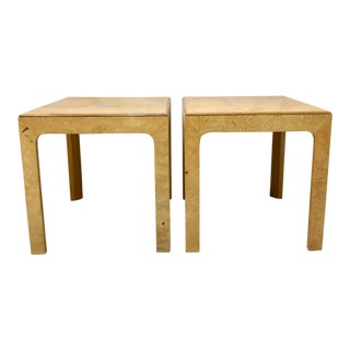 Pair of Patchwork Burl Henredon Side Tables For Sale