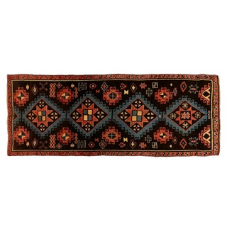 "Diamond Patterned Turkish Wool Oushak Rug - 4'8"" X 12'2"" For Sale"