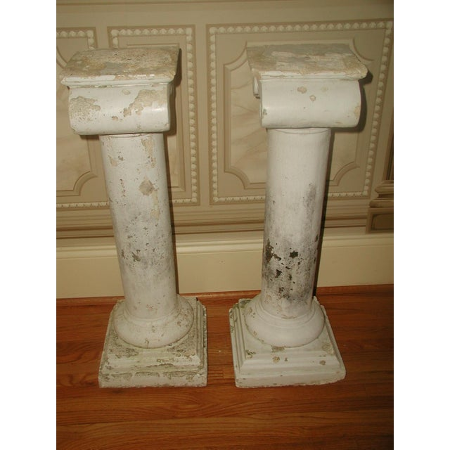 1950s Neoclassical Plaster Architectural Garden Columns - a Pair For Sale - Image 4 of 8