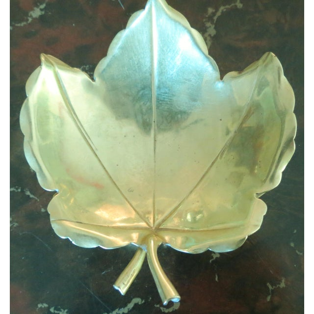 Handmade Brass Maple Leaf Serving Dishes - A Pair For Sale - Image 4 of 6