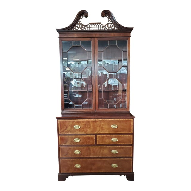 Baker Mahogany Collector's Edition Bookcase Secretary For Sale