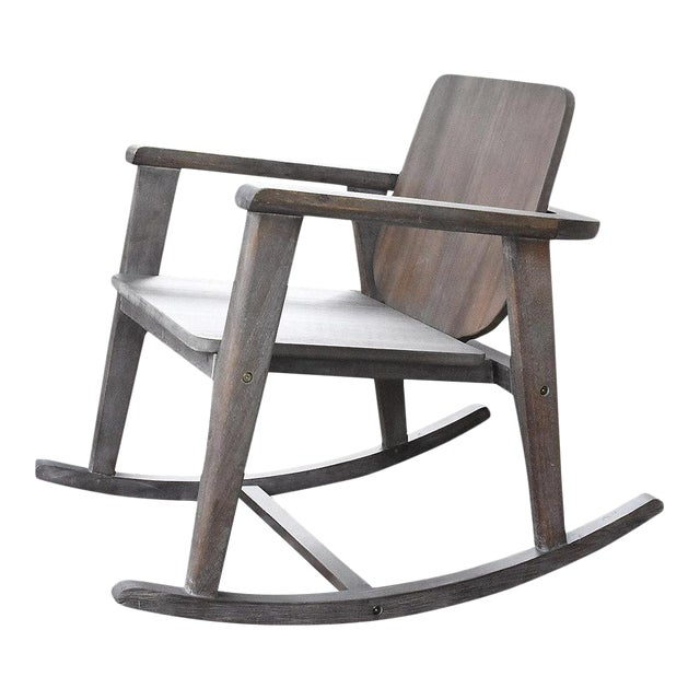 Modern Gray Wooden Rocking Chair For Sale