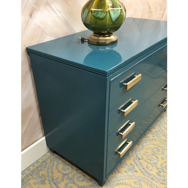Lacquered Teal Brass Hardware Dresser - Image 4 of 7
