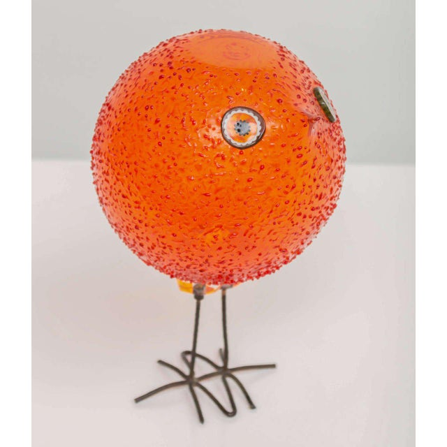 """Highly sought after """"Pulcini"""" glass bird sculpture for Vistosi. Handblown glass with murine eyes and bronze feet."""