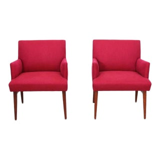 Pair of New Upholstered Midcentury Armchairs with Oak Base, USA, 1950s For Sale