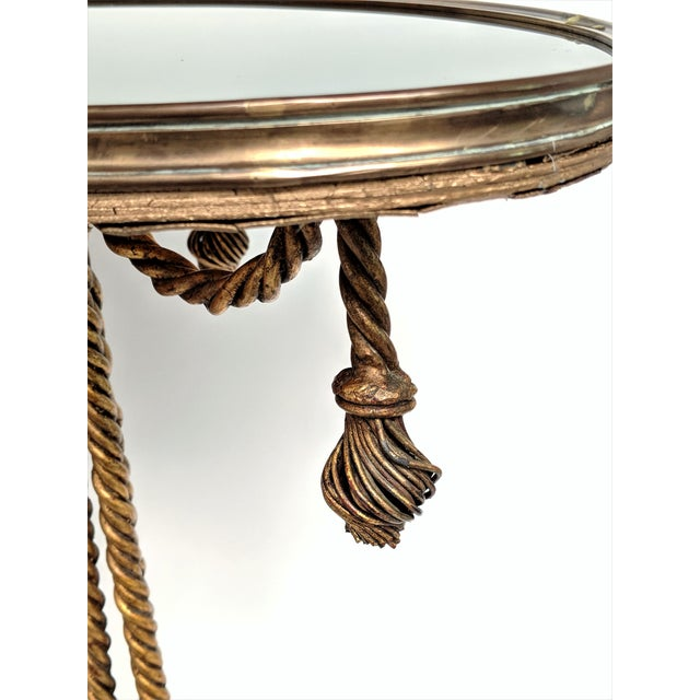 Gilded Rope & Black Glass Side Table For Sale In Miami - Image 6 of 12