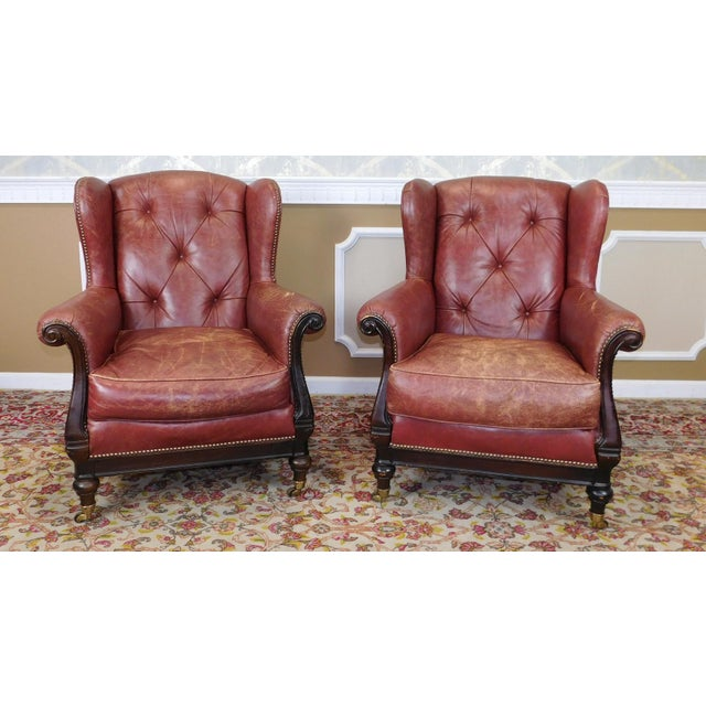 Lillian August Leather Wing Back Armchairs - A Pair - Image 10 of 10