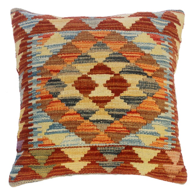 """Cira Rust/Brown Hand-Woven Kilim Throw Pillow(18""""x18"""") For Sale In New York - Image 6 of 6"""