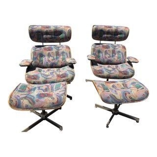Vintage Mid Century Selig Chair & Ottoman- 4 Pieces For Sale