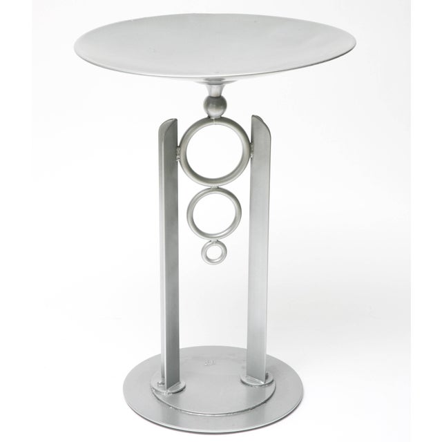 Late 20th Century Modern, Artisan Bird Bath in Powder-Coated Silver Metallic Paint For Sale - Image 5 of 11