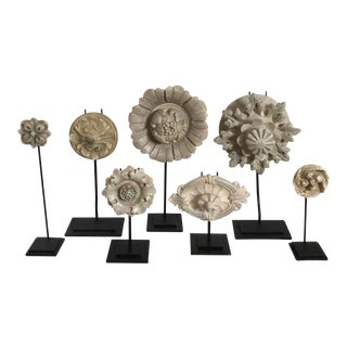 Mounted French Style Rosettes on Stands, S/7 For Sale