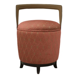 Contemporary Bellavista Miro Pouf Stool With Leather and Velvet