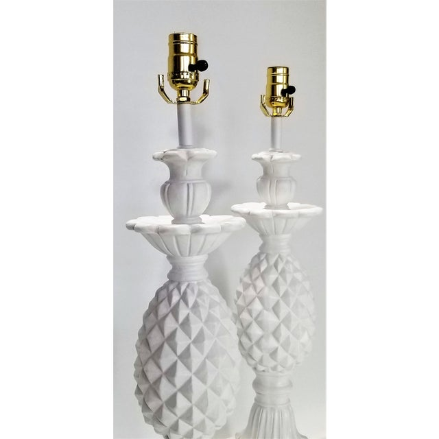 Huge Pair of Pineapple Table Lamps - Restored - Solid Plaster Wood Base - Mid Century Modern Hollywood Regency Palm Beach Chic - Signed and Dated 1957 For Sale - Image 9 of 12