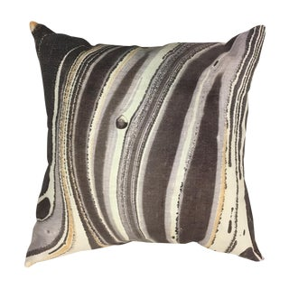 """Abstract Gilded Lava Saturn Gray Linen Pillow Cover - 22"""""""