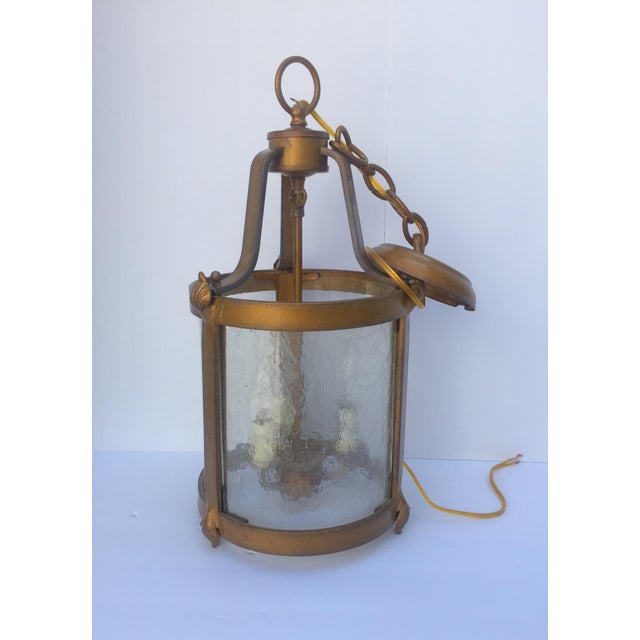 Metal Vintage Seeded Glass 3 Light Carriage Lantern For Sale - Image 7 of 12