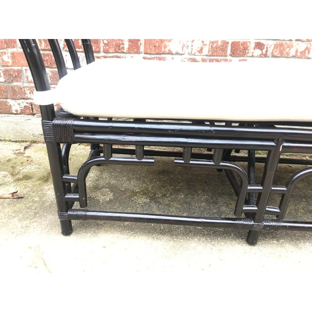 1970s 1970s Vintage Faux Bamboo Upholstered Bench For Sale - Image 5 of 13
