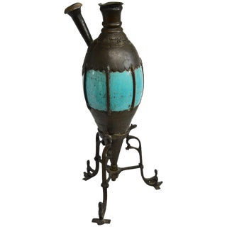 Late 19th Century Bronze and Turquoise Ceramic Hookah Pipe For Sale