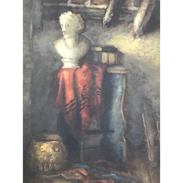 French 1950s Vintage Still Life with Marble Bust Framed Oil Painting For Sale - Image 3 of 10
