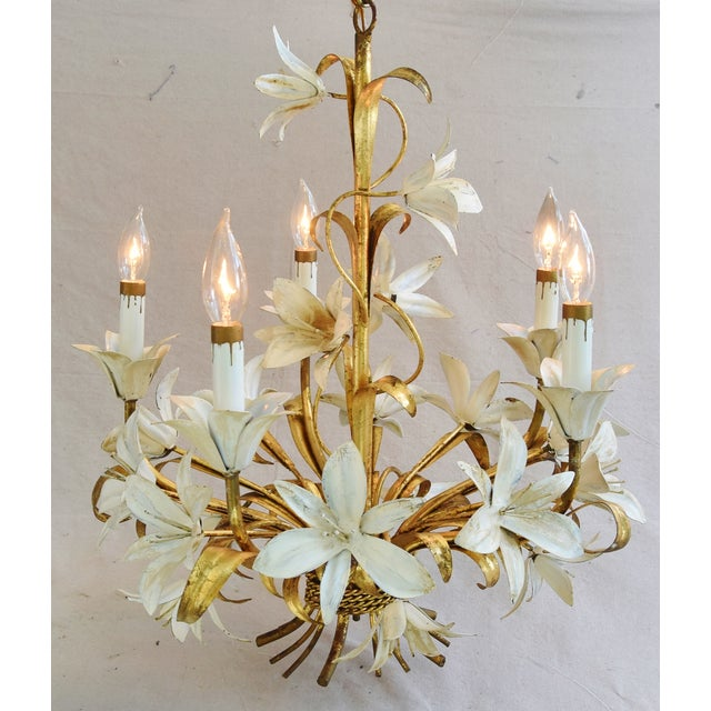 Vintage Five-Arm/Light Italian Gold Gilt Lily Tole Chandelier For Sale In Los Angeles - Image 6 of 11