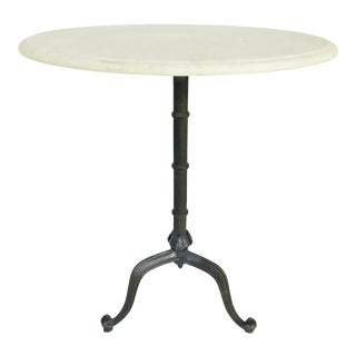 Lillian August Transitional Off-White Marble Beyer Side Table For Sale