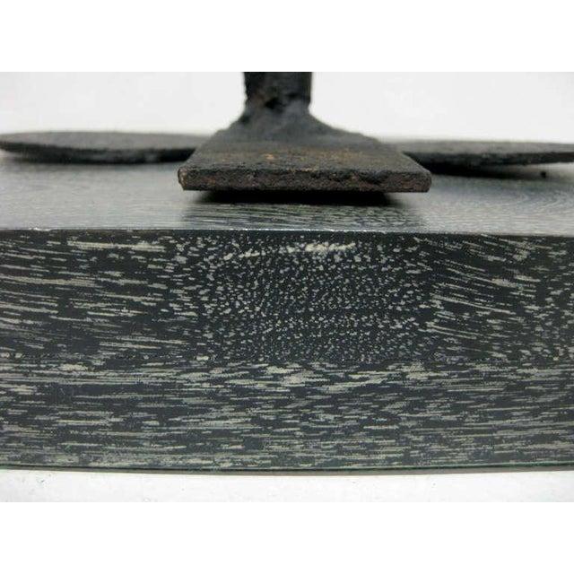 Iron Sculpture on Cerused Wood Base - Image 9 of 9