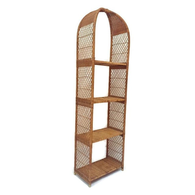 Vintage Domed Rattan Etagere Danny Fong Style For Sale - Image 12 of 12