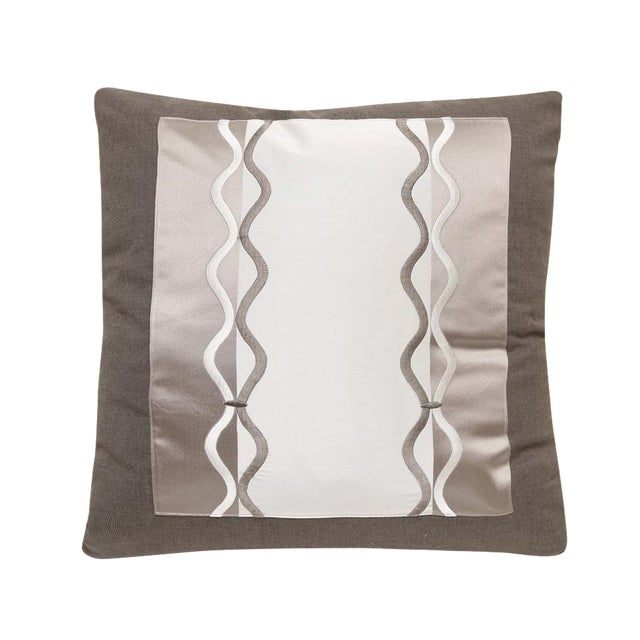Silk & Satin Pillow With Braid Embroidery For Sale