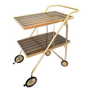 1960s Mid Century Modern Gold & Walnut Folding Bar Cart For Sale