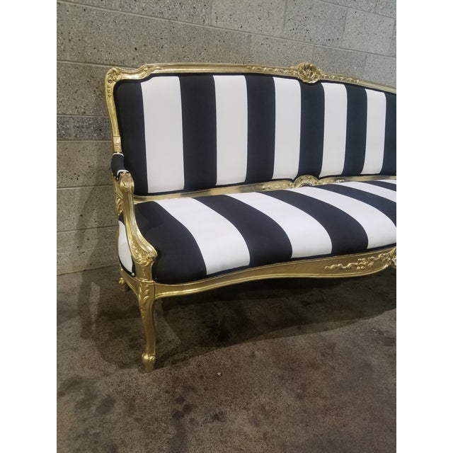 1950s Vintage Victorian Black and White Striped Sofa For Sale In Providence - Image 6 of 11