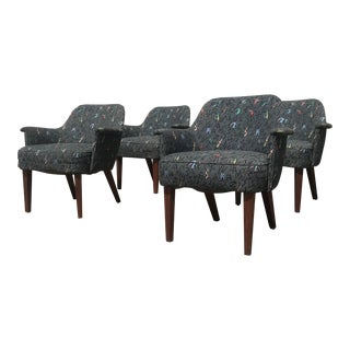 1950s Mid Century Modern Patterned Gray Upholstered Lounge Chairs - Set of 4