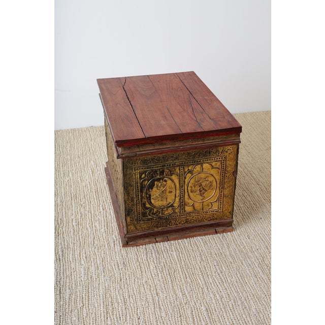 Paint 19th Century Burmese Gilded Chest or Trunk Table For Sale - Image 7 of 13