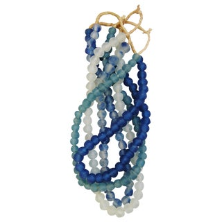 Blues & Ice Glass Bead Strands - Set of 4