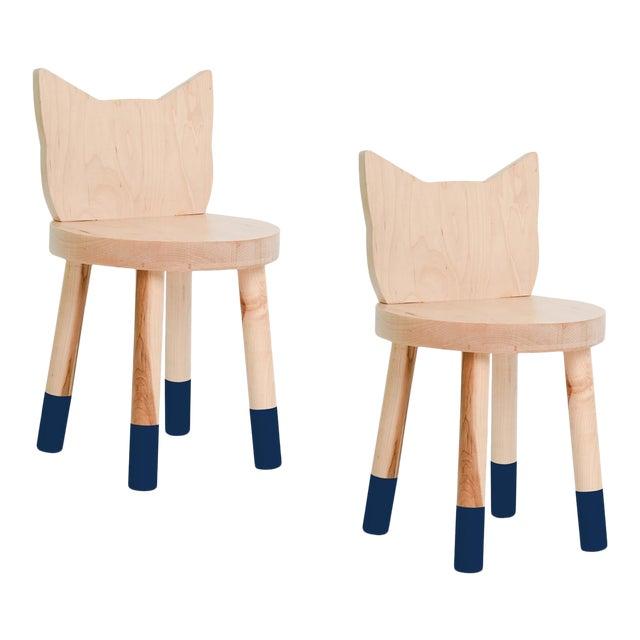 Nico & Yeye Kitty Kids Chair Solid Maple and Maple Veneers Deep Blue - Set of 2 For Sale