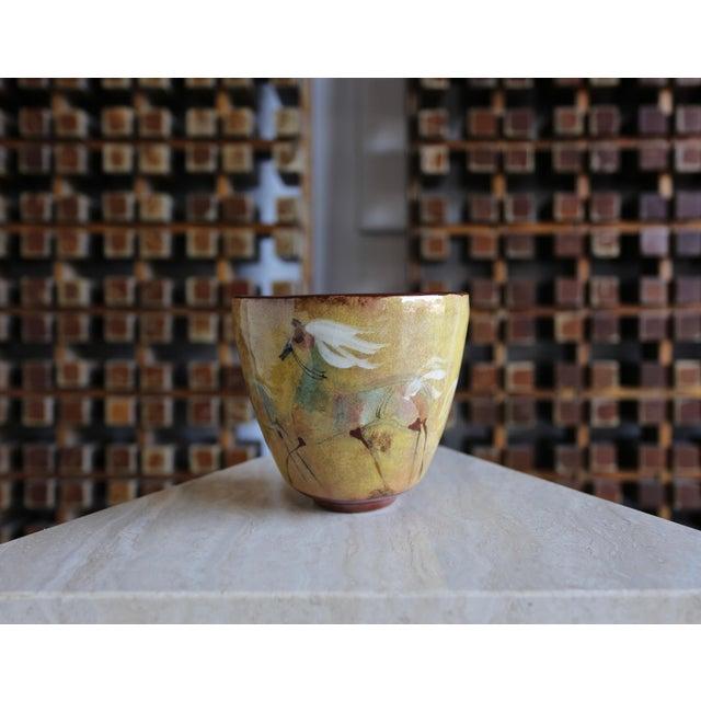 A Signed Polia Pillin Ceramic Bowl Depicting Horses.