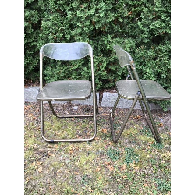 Italian Mid-Century Lucite Folding Chairs - A Pair - Image 2 of 10