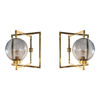 Italian Brass Sconces by Diego Mardegan - a Pair For Sale
