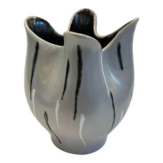Mid 20th Century Free Form Ceramic Patterned Vase, Made in Austria For Sale