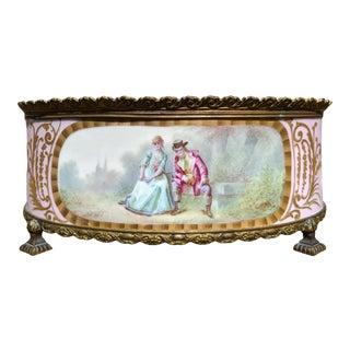 1800s Sevres-Style Rose Pompadour Porcelain Gilded Bronze Trim Oval Cachepot For Sale