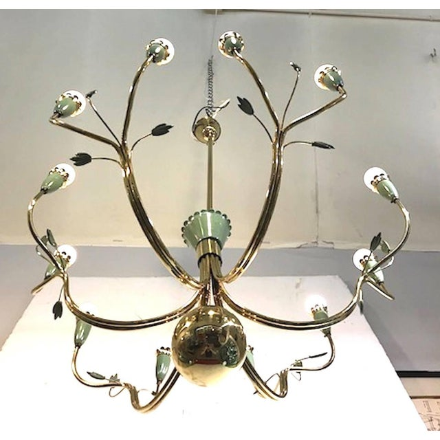 Arredoluce 1950s Brass and Green Enamel Chandelier by Angelo Lelli For Sale - Image 10 of 11