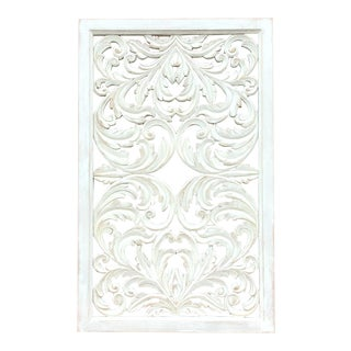Acanthus Whitewashed Wooden Carved Panel For Sale