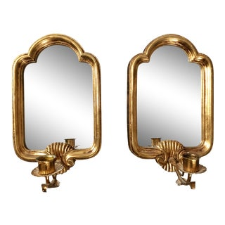 Vintage Gilt Italian Mirror Candle Sconces- a Pair For Sale