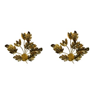 Modern Global Views Dancing Brass Leaves Sconces Pair For Sale