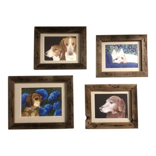 Gallery Wall Collection 4 Contemporary Dog Prints in Vintage Barn Wood Frames - Set of 4 For Sale
