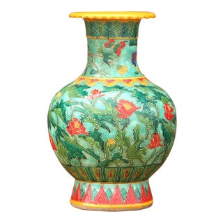 Vibrant Chinoiserie Floral Jar For Sale