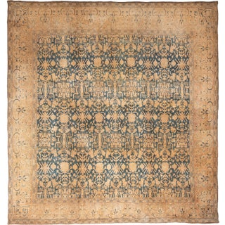 Vintage Mid-Century Blue & Beige Geometric Rug - 12′6″ × 13′2″ For Sale