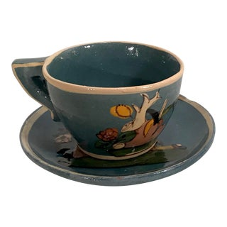 Vintage Mexican Hand Painted Cup and Saucer For Sale