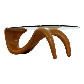 1970s Mid-Century Modern Bentwood Glass Biomorphic Organic Shaped Coffee Table