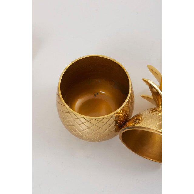 1970s Set of 3 Brass Pineapple Ice Buckets or Candy Boxes For Sale - Image 5 of 9